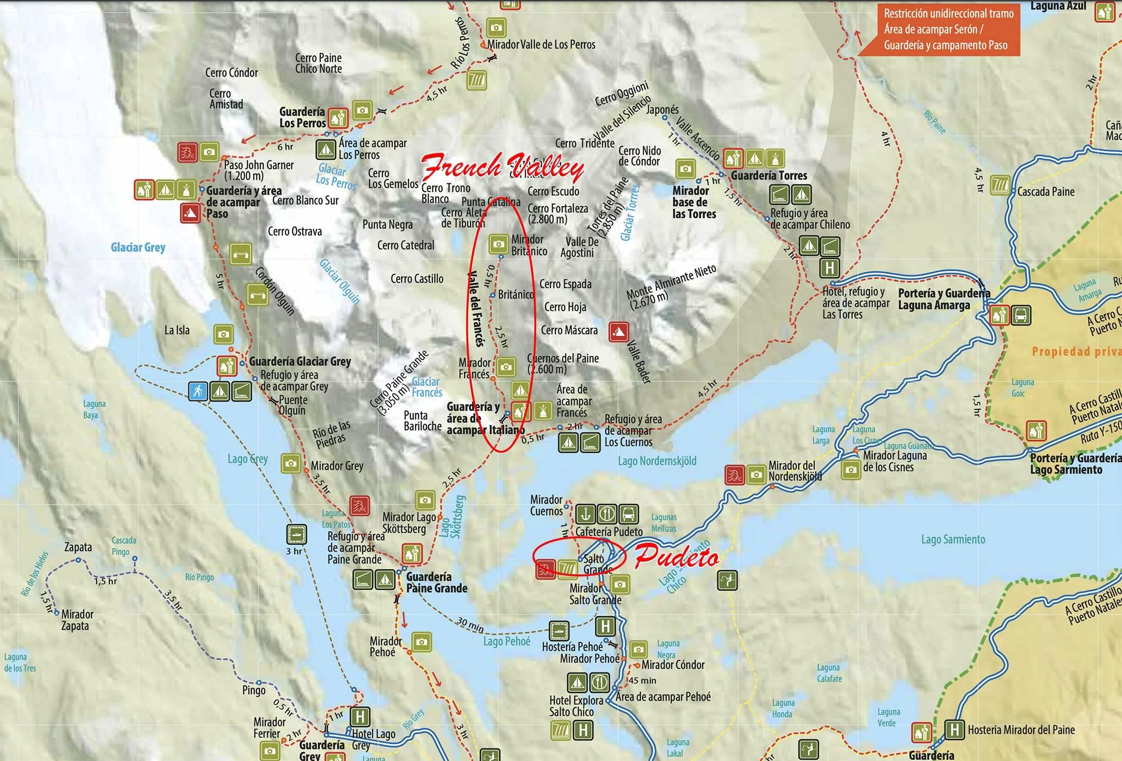 Французская Долина за день - карта Торрес-дель-Пайне, где отмечены долина и станция Пудето
