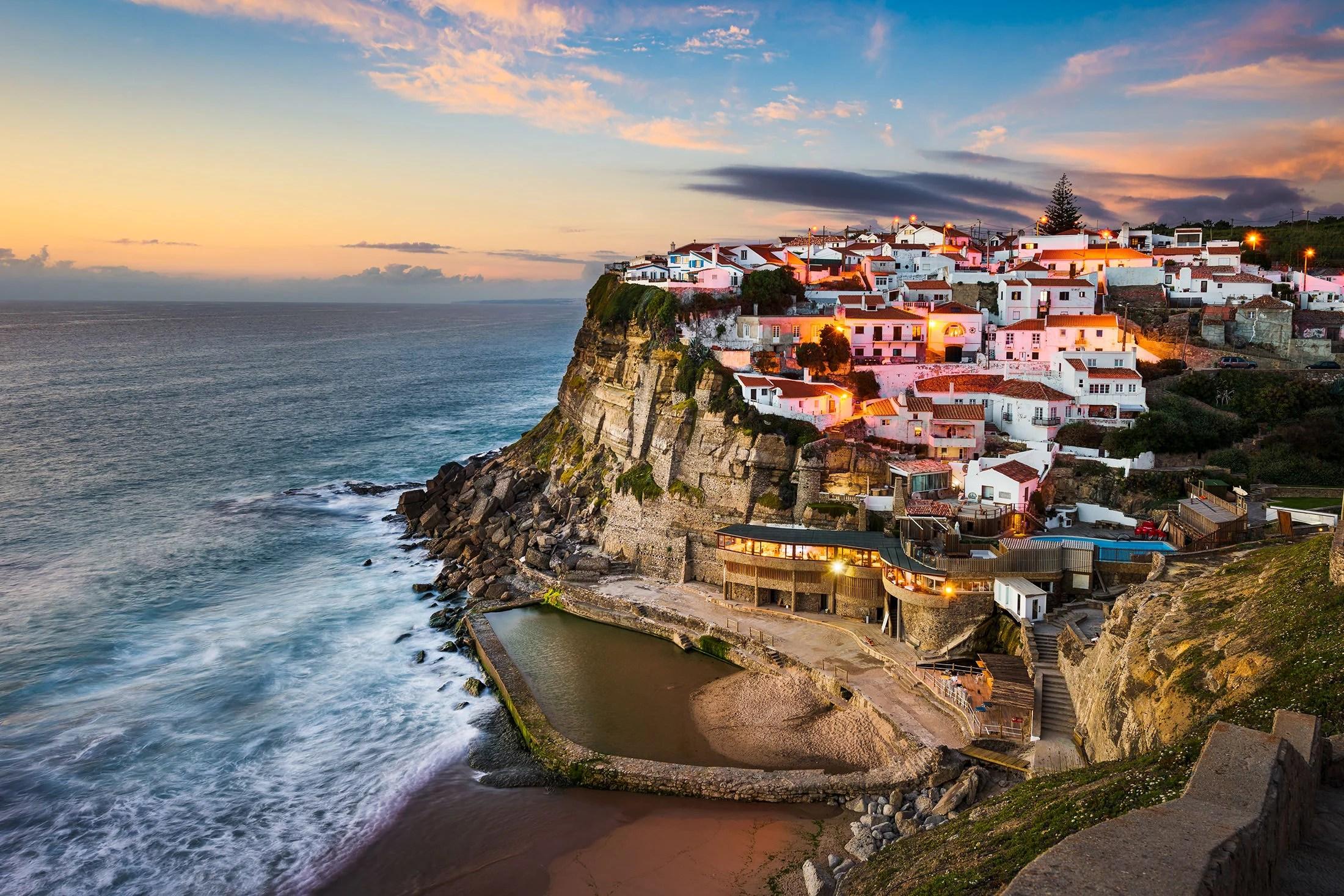 Azenhas do Mar is a great photo spot to shoot the sunset near Sintra