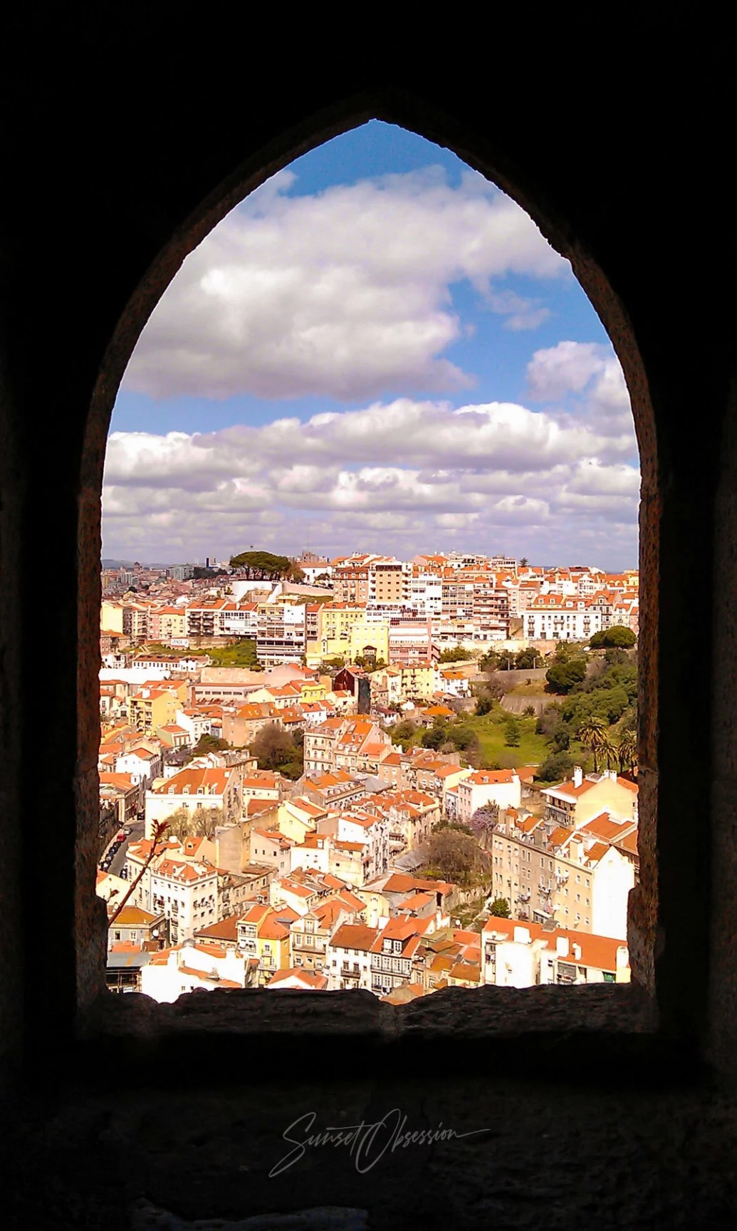 Daytime view of Lisbon from within the castle