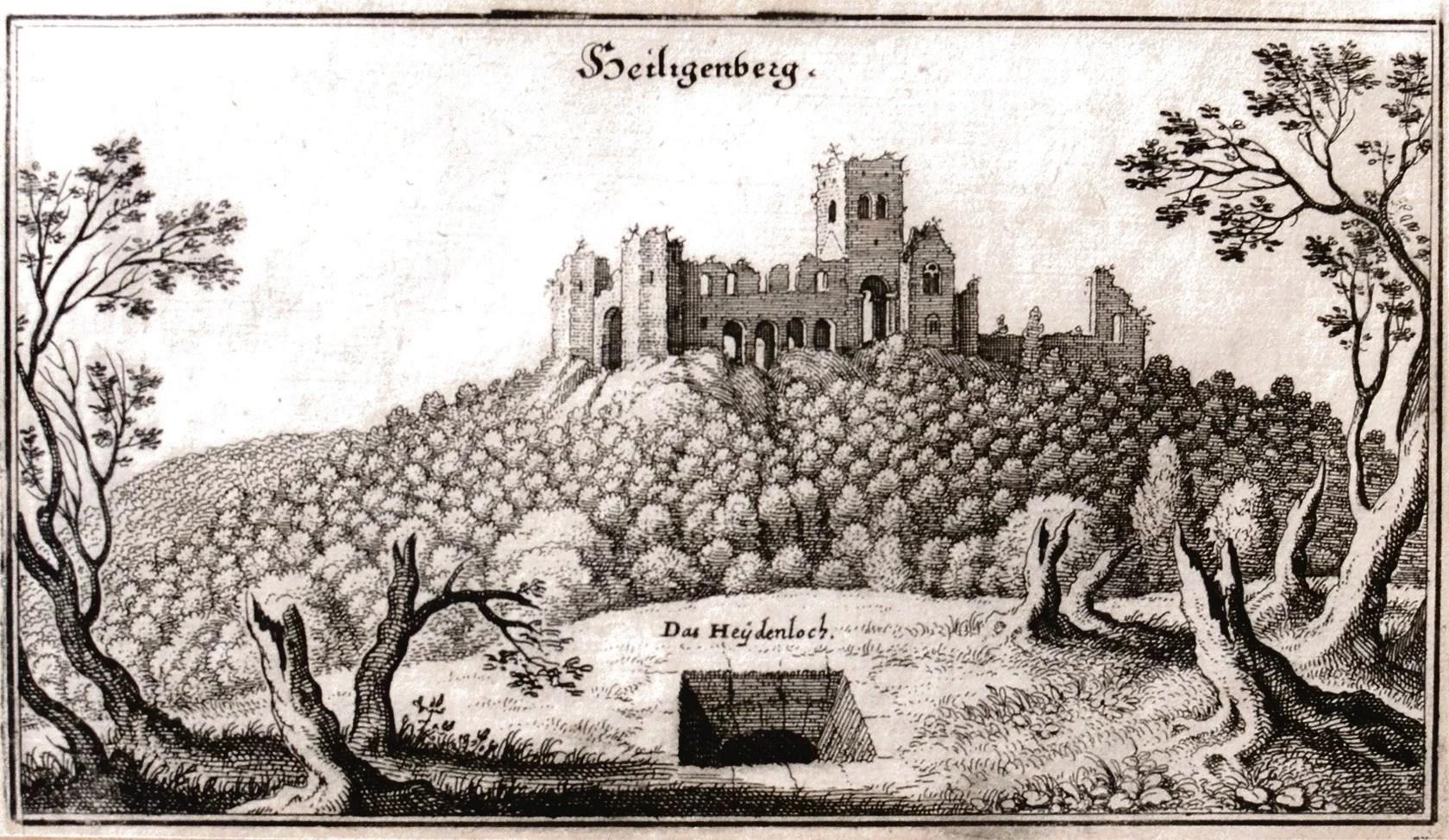 Изображение Хайденлоха и монастыря Св. Михаила в 1645