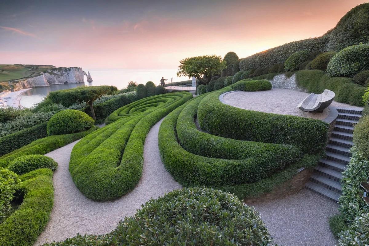 Gardens of Étretat at sunset