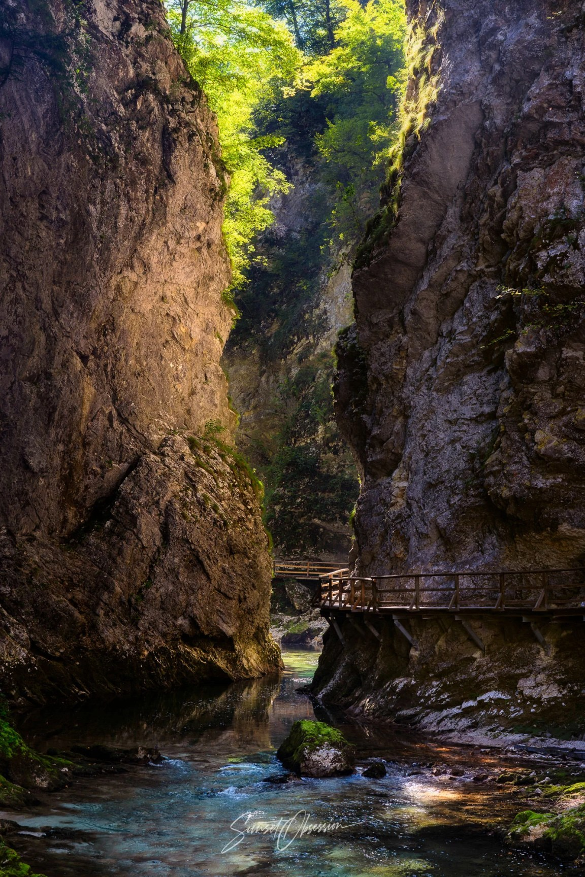 Vintgar Gorge in the afternoon light, Slovenia