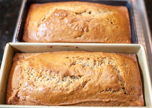 Fresh Baked Spiced Banana Sour Cream Bread.