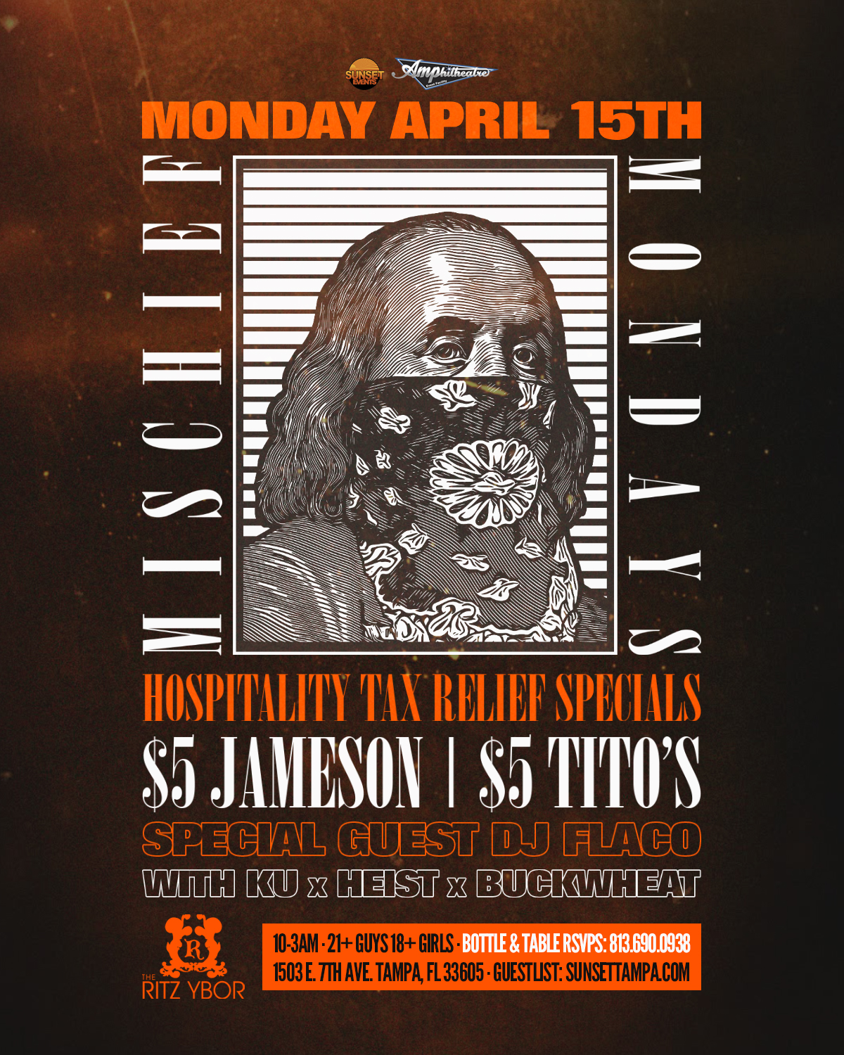 Mischief Mondays – Tax Relief Edition – Special Guest DJ FLACO at The RITZ Ybor – 4/15/2019