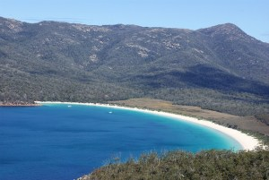 View overlooking Wineglass bay beach in Tasmania