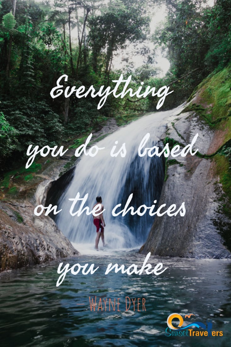 Everything you do is based on the choices you make.- Wayne Dyer