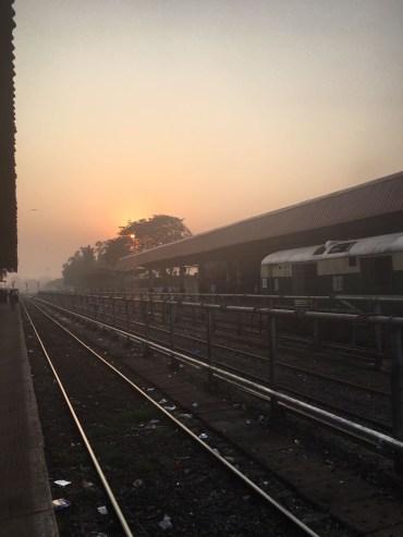 Sunrise over the platform