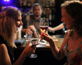 Enjoying a glass of wine and good company