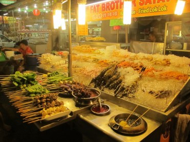The best satay stall we saw. We picked here to eat because they also offered vegetables as well as an impressive range of meats.