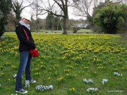 Birgit amongst the spring flowers in Frankfurt am Main in the first week of months of backpacking.