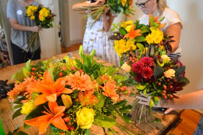 Preparing our bouquets