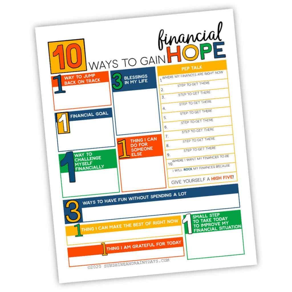 10 Ways To Gain Financial Hope Worksheet