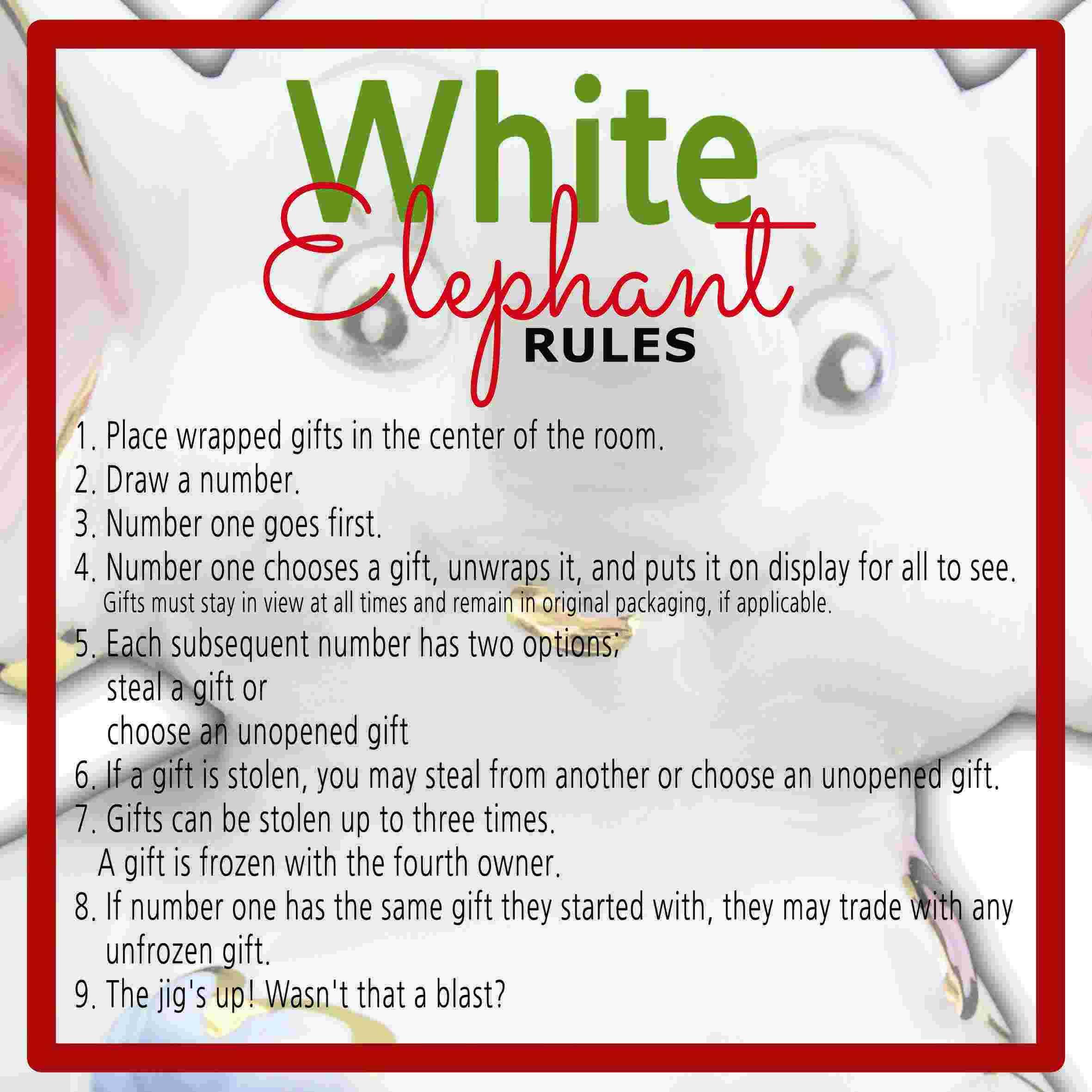 photograph relating to White Elephant Rules Printable identify White Elephant Reward Substitute Legislation Printable
