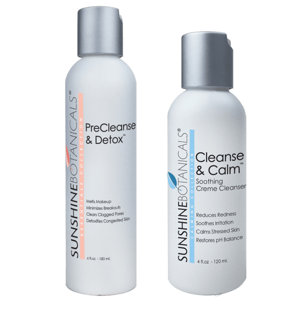 Sunshine Botanical's PreCleanse & Detox and Cleanse & Calm facial cleanser - botanical skincare with natural ingredients