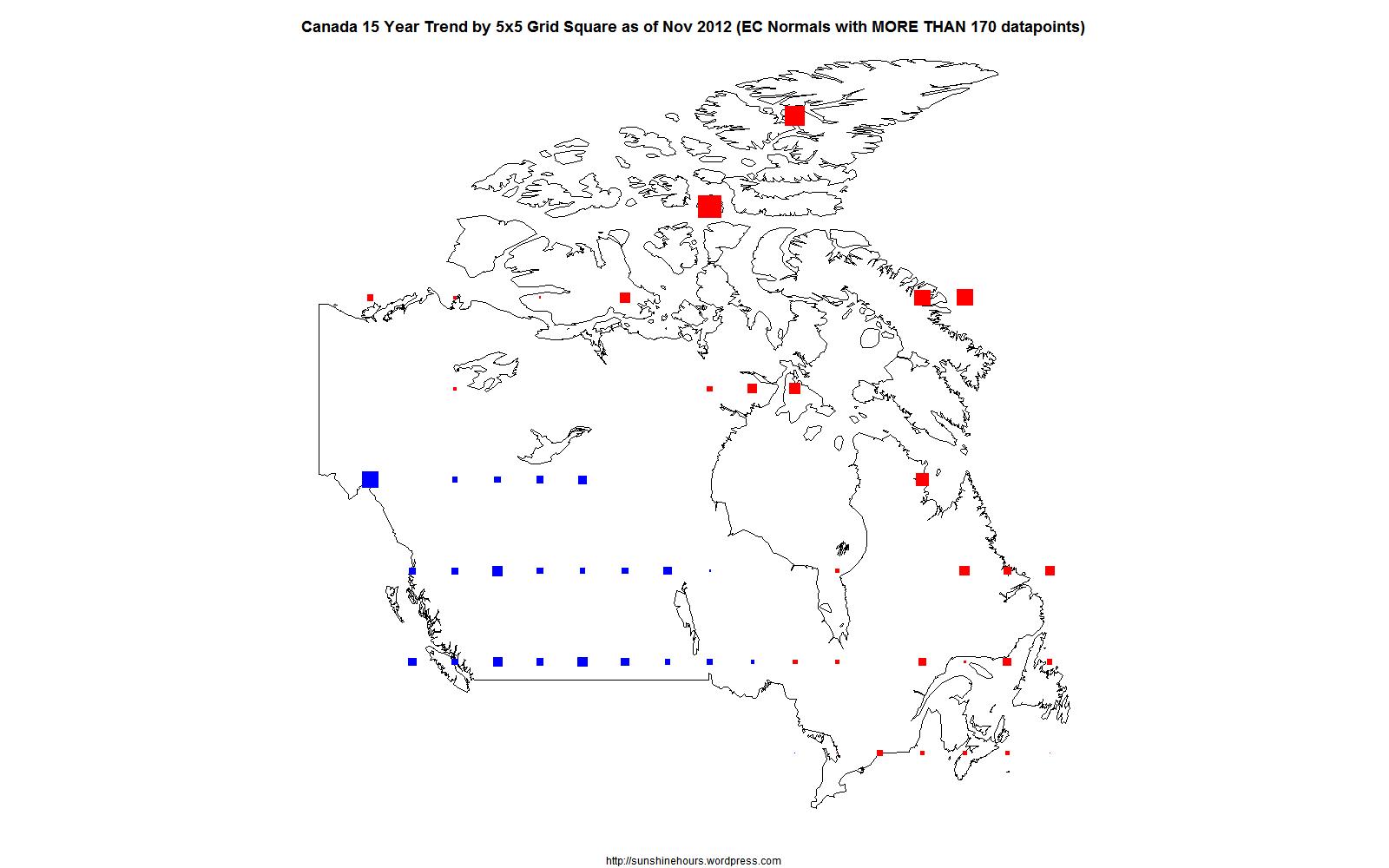 Canada Nov 2012 15 Year Trend by 5×5 Grid Square