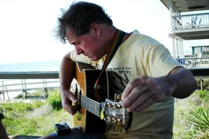 Papa tuning his Guitar, oh so serious
