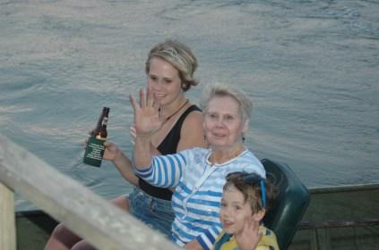Boat ride two, leaving Port. Sondra, GrandButton, and Noah