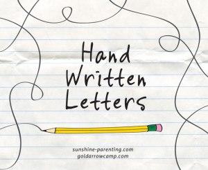 Hand Written Letters; sunshine-parenting.com