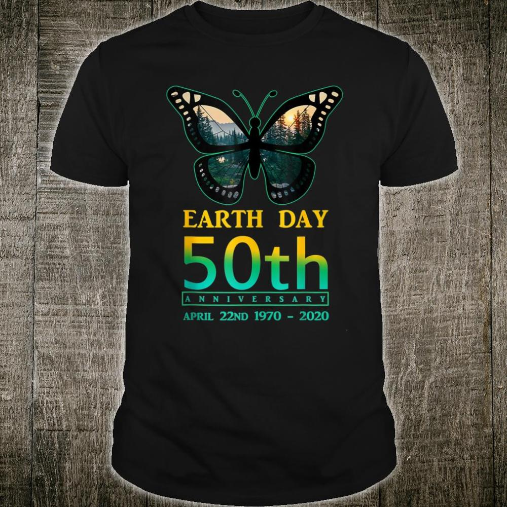 Earth Day 50th Anniversary Butterfly and Ladybug Silhouette Shirt