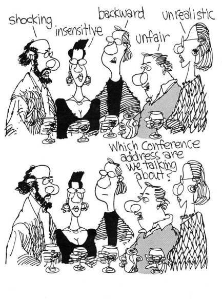 A November 1991 cartoon by Calvin Grondahl pokes fun at Sunstone's readers during a time when intellectuals were being disciplined by the Church.