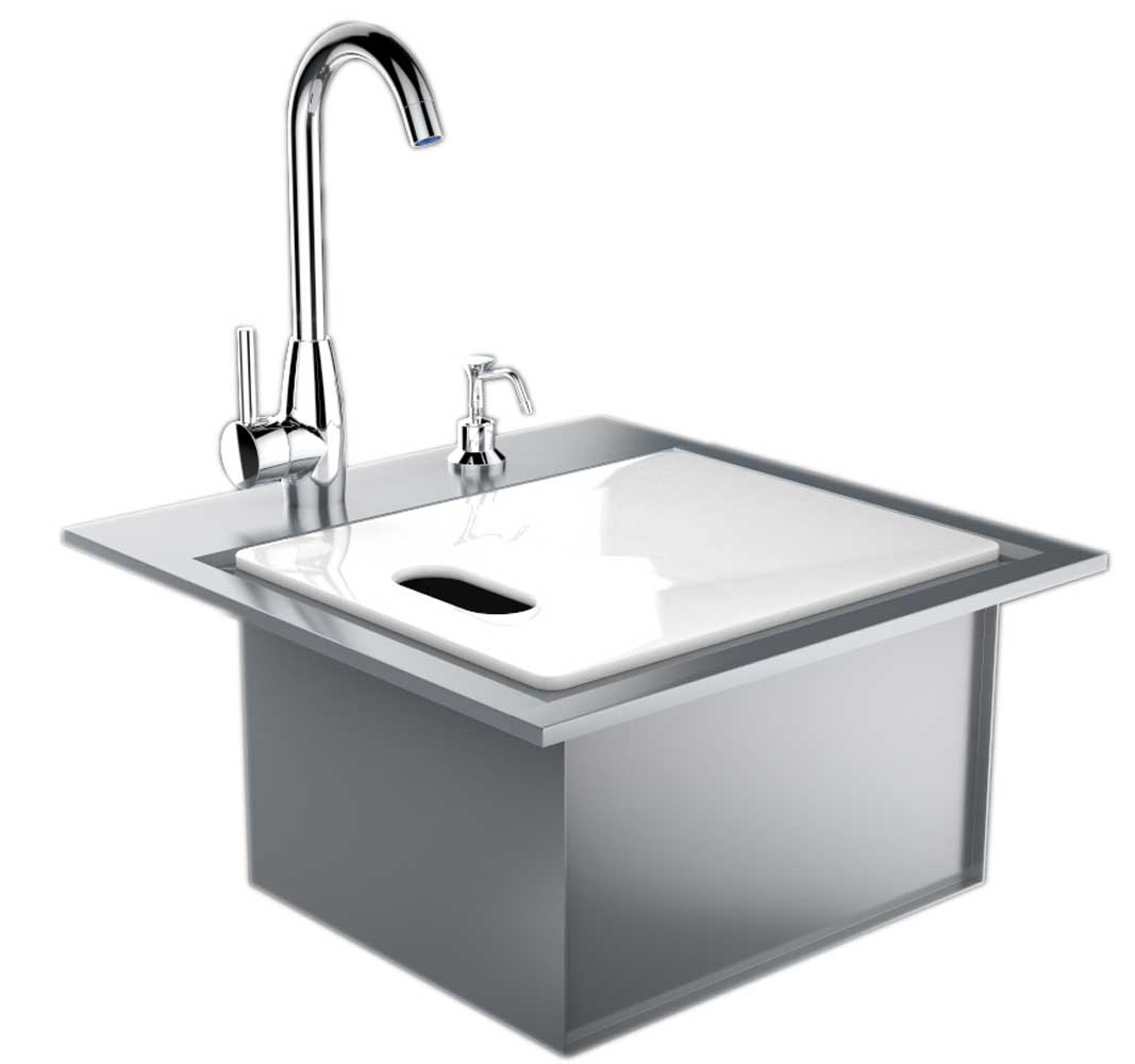 premium drop in sink w hot and cold water faucet cutting board