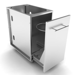 Triple Kitchen Sink Custom Tables Stainless Steel Cabinets-trash Drawer Cabinets ...