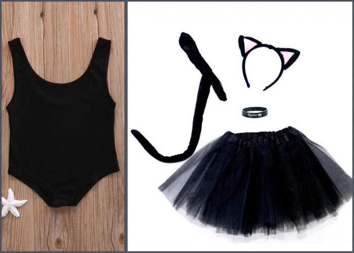 do it yourself black cat halloween costume with black swimwear and cat headband black tutu and collar