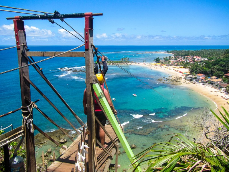 SUMMER BEACH GETAWAYS , ziplining in morro de sao paolo in brazil