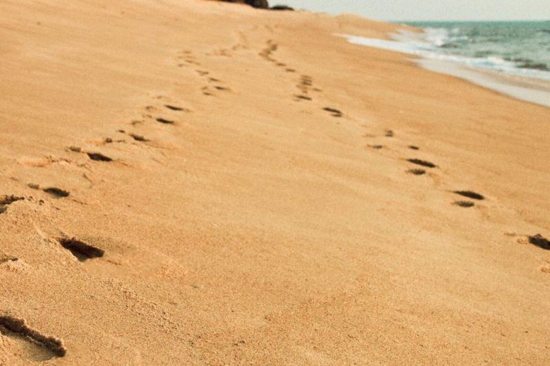 Secluded-Beaches-in-Kerala-Kappil-Beach-footprints-in-sand