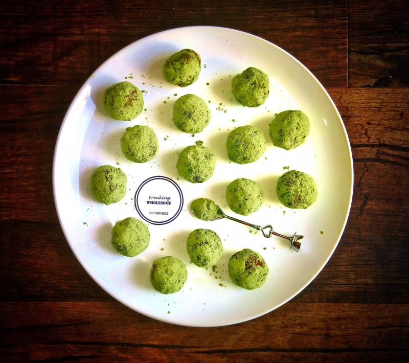 energy boost bliss balls moringa, hemp seed, cashews, dates, cacao protein packed bites