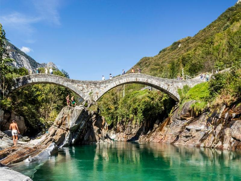 Verzasca River Ponti dei Salti bridge swimming in summer- best rivers in switzerland safe for swimming