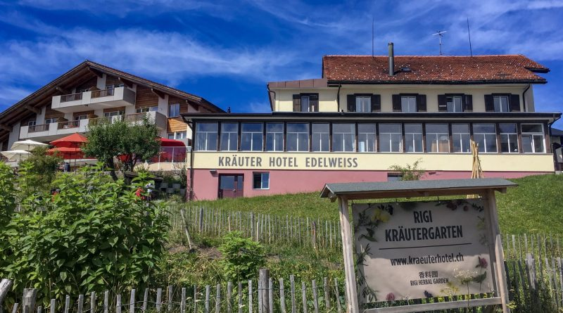 front view of Krauter Hotel Edelweiss and herb garden
