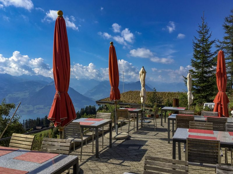 Panorama Restaurant terrace with its panaromic view of the Swiss Alps