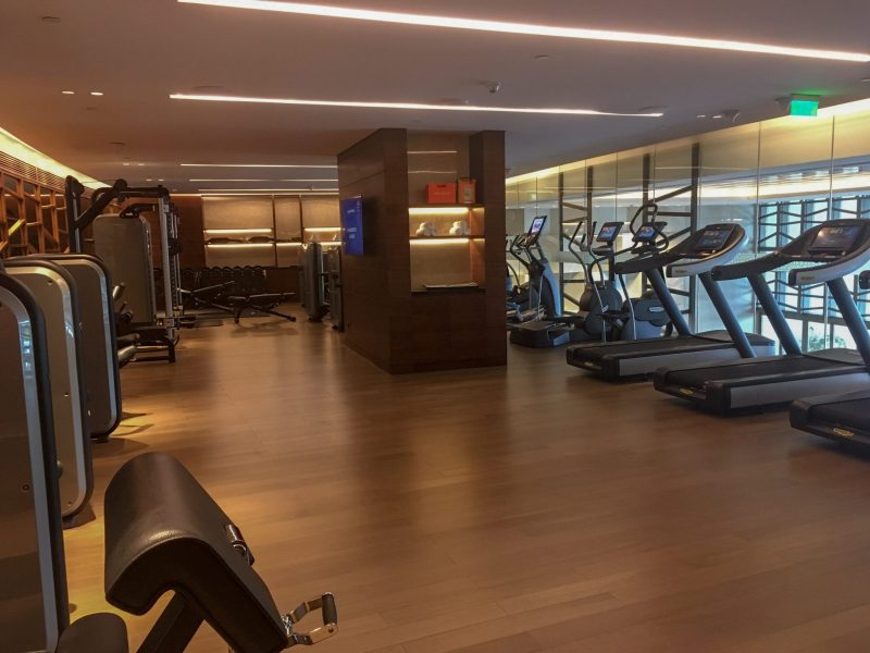 fitness equipment inside the gym at Grand Hyatt Kochi