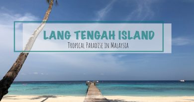 white sand beach of lang tengah overlooking the boardwalk