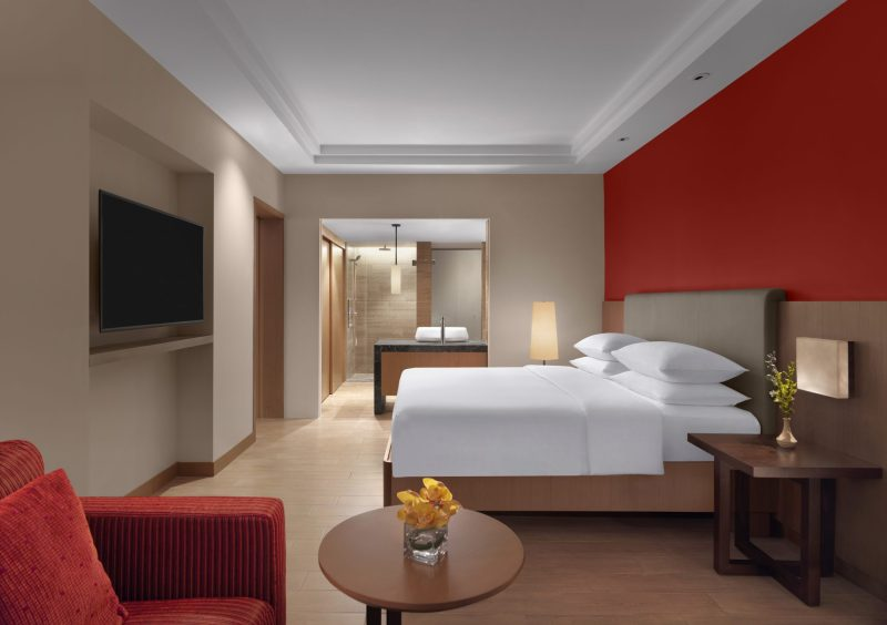 hyatt kuantan family bedroom king bed red wall