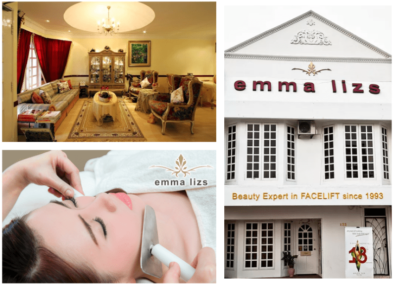 collage of emma lizs salon exterior facade and interior with anti aging facial lifting technique