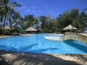 Big swimming pool, clear blue water, a bridge to the right and 2 bali huts which are swim up pool bars