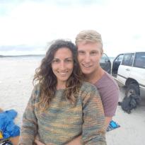 Couple shot on the beach in Denmark, landcruiser in the back ground