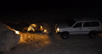 Camping out in the swag in front of the landcruiser