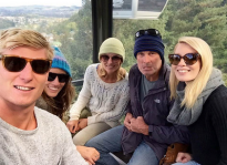 Family group shot in the gondola up to the Luge