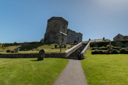 St Davids cathedral, blue skies, green grass, grandeur buildings
