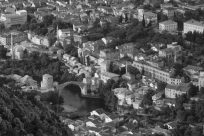 Looking down at the stari most from the top of the hill, black and white picture