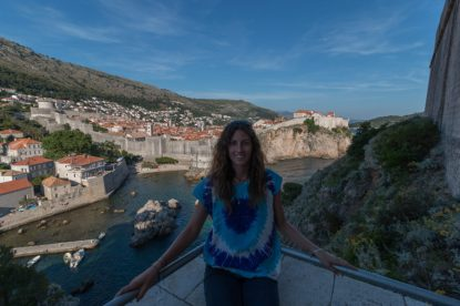 Tegan in the fort, old town behind her