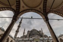 Inside the Haggia Sophia looking back at the Blue Mosque