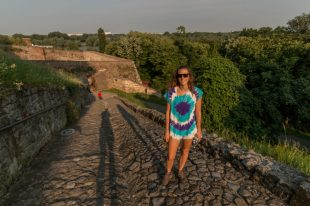 Tegan on a pebble walkway in the morning sun