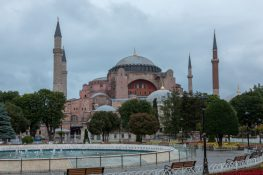 Water fountain in the town, Hagia Sophia in the background