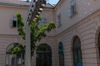 Walking through the art museum strip