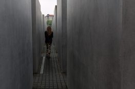 Tegan walking through the holocaust