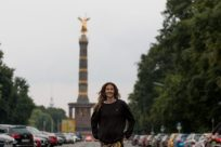 Tegan posing before the victory column